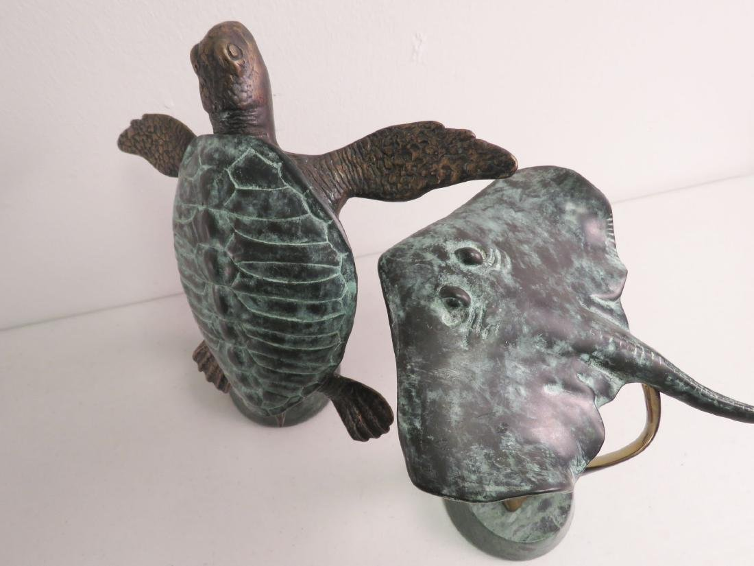 2 BRONZE SCULPTURES: SEA TURTLE, STING RAY - 2