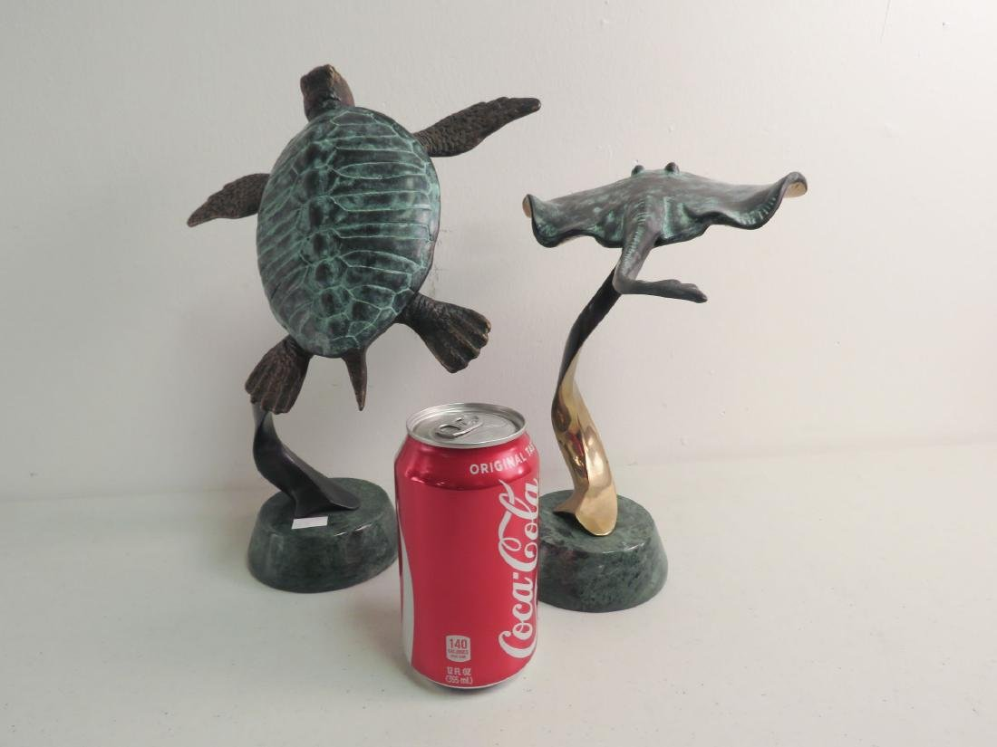 2 BRONZE SCULPTURES: SEA TURTLE, STING RAY - 6
