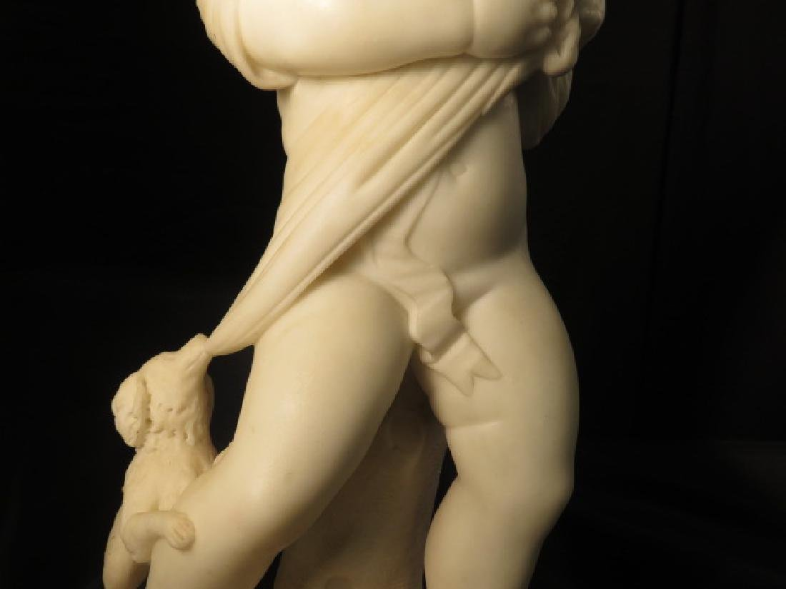 TWO ITALIAN CARVED MARBLE SCULPTURES CHERUBS PETS - 10