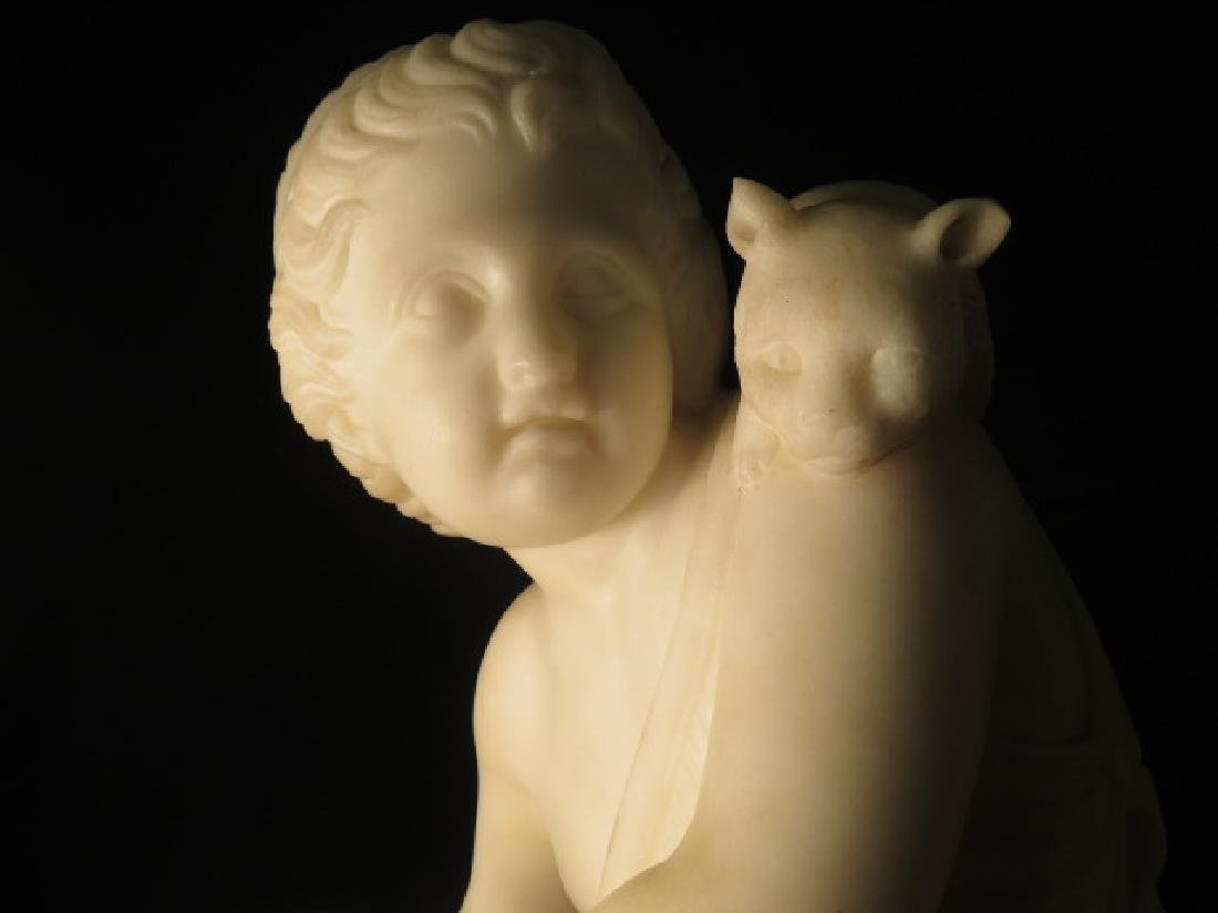 TWO ITALIAN CARVED MARBLE SCULPTURES CHERUBS PETS - 7