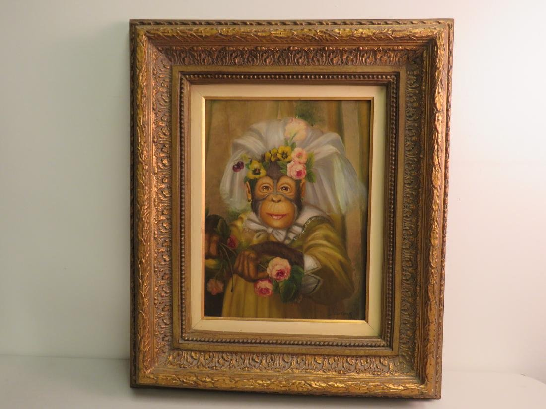 OIL PAINTING: PORTRAIT OF A MONKEY BRIDE