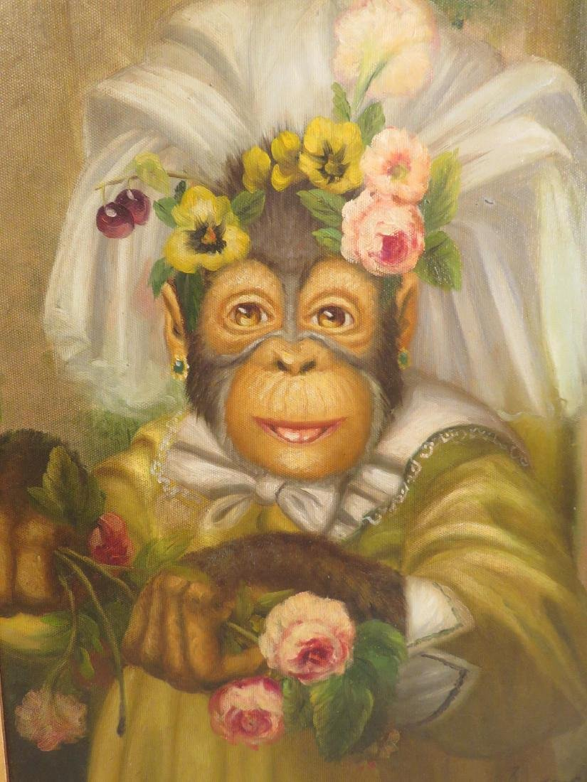 OIL PAINTING: PORTRAIT OF A MONKEY BRIDE - 2
