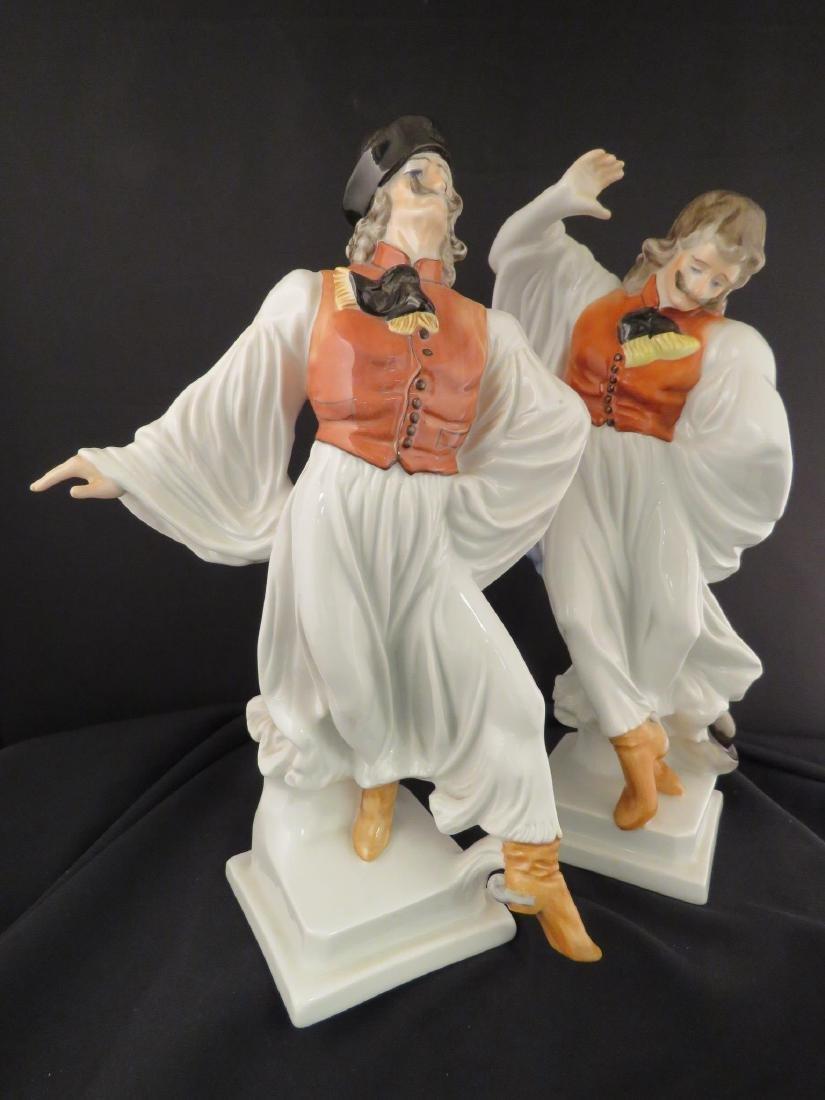 TWO HEREND PORCELAIN DANCER FIGURINES