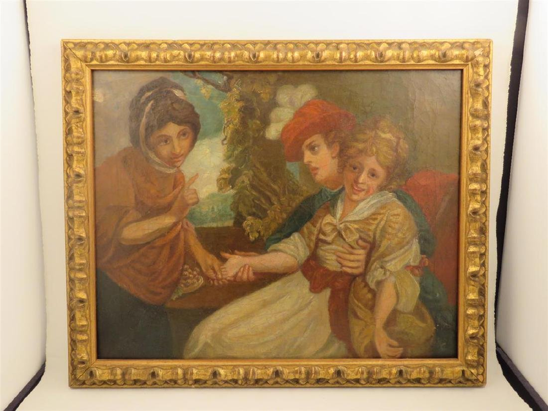 ANTIQUE OIL ON CANVAS PAINTING OF THREE FIGURES