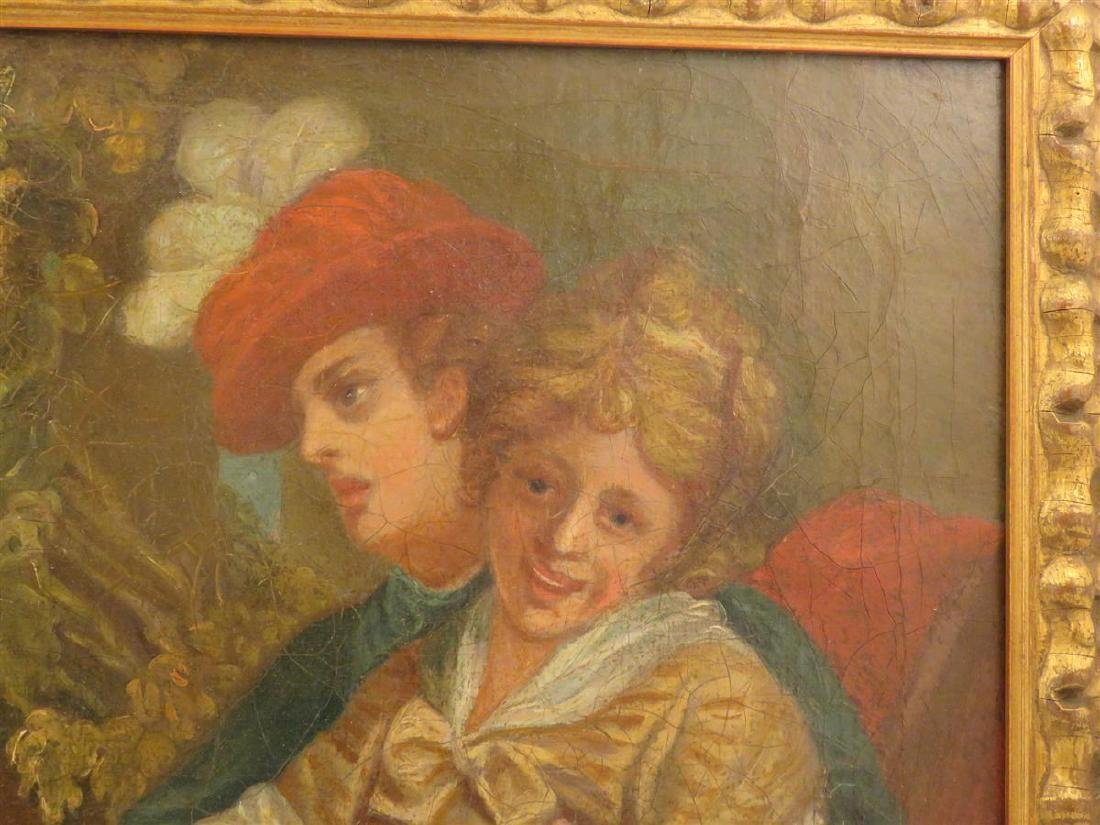 ANTIQUE OIL ON CANVAS PAINTING OF THREE FIGURES - 3