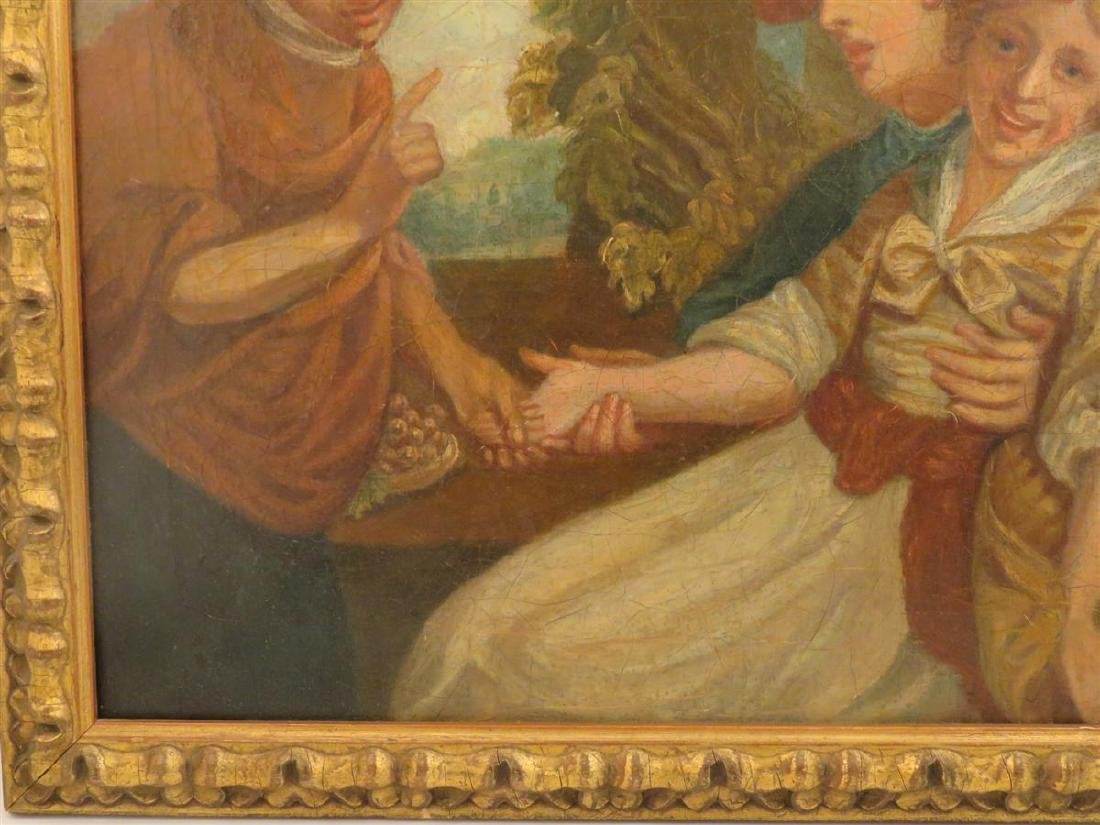 ANTIQUE OIL ON CANVAS PAINTING OF THREE FIGURES - 4
