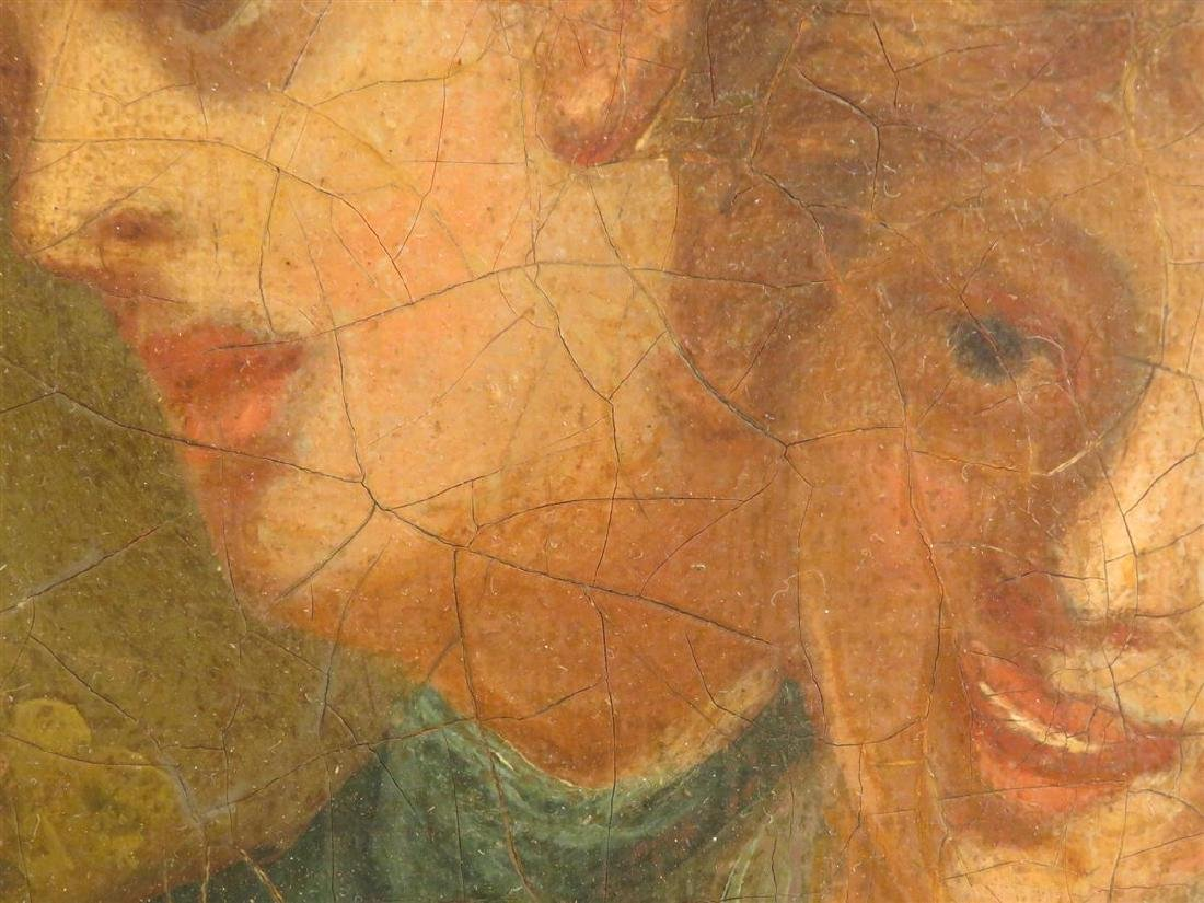ANTIQUE OIL ON CANVAS PAINTING OF THREE FIGURES - 6
