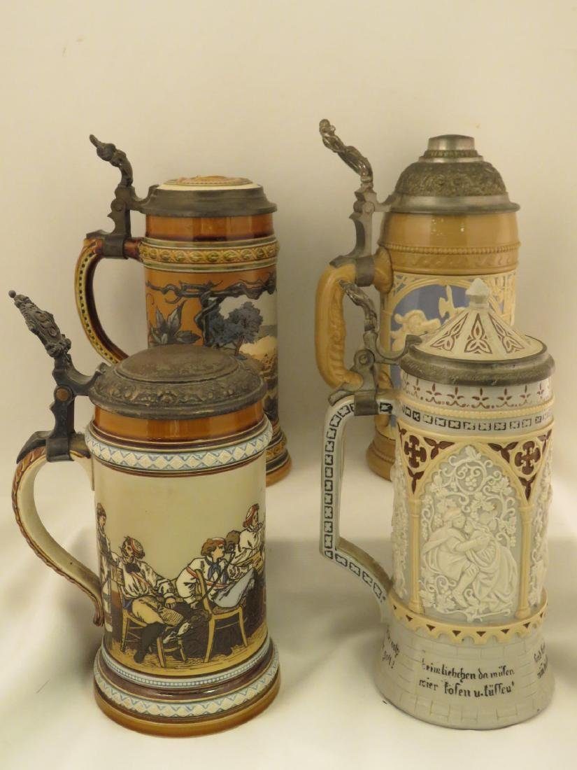 FOUR METTLOCK 1/2 LITER ANTIQUE BEER STEINS