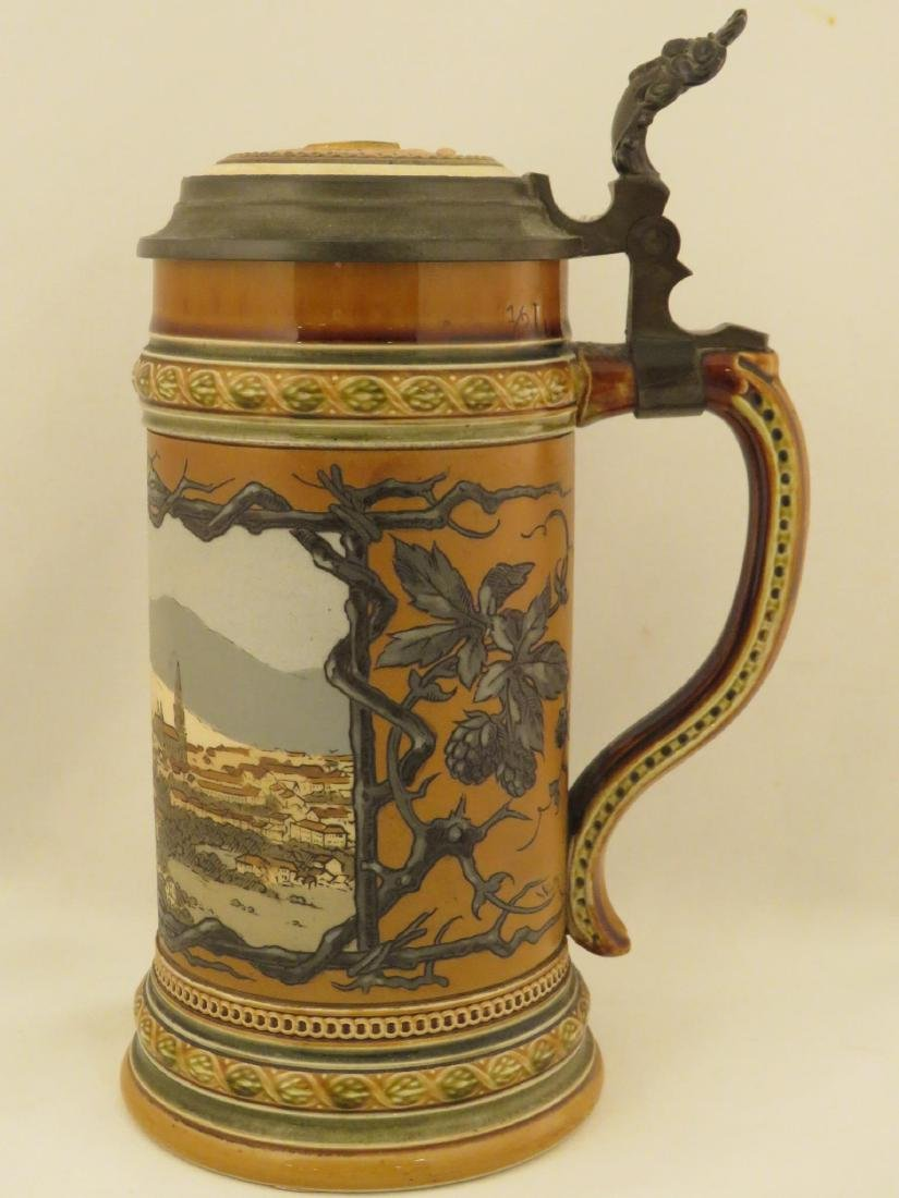 FOUR METTLOCK 1/2 LITER ANTIQUE BEER STEINS - 3