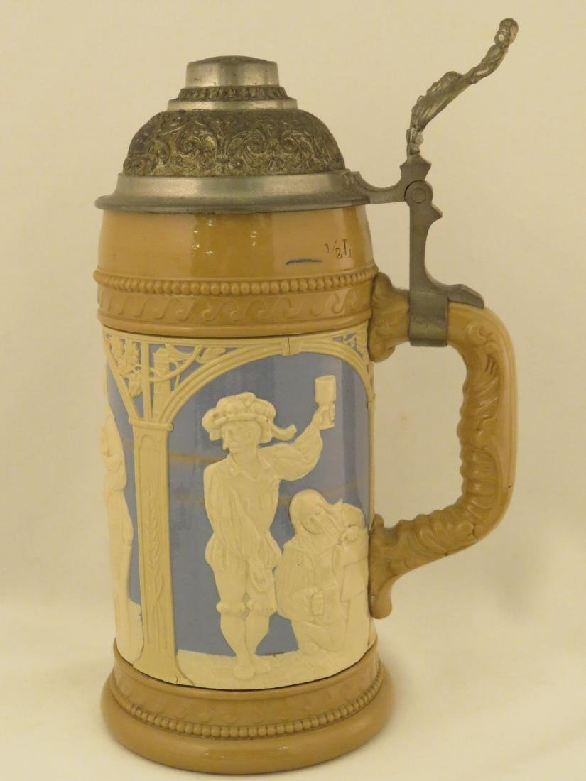 FOUR METTLOCK 1/2 LITER ANTIQUE BEER STEINS - 5