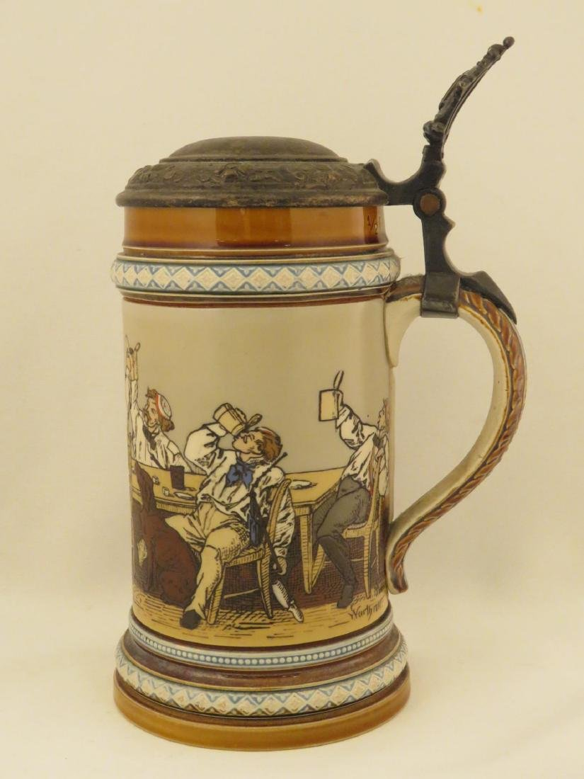 FOUR METTLOCK 1/2 LITER ANTIQUE BEER STEINS - 9