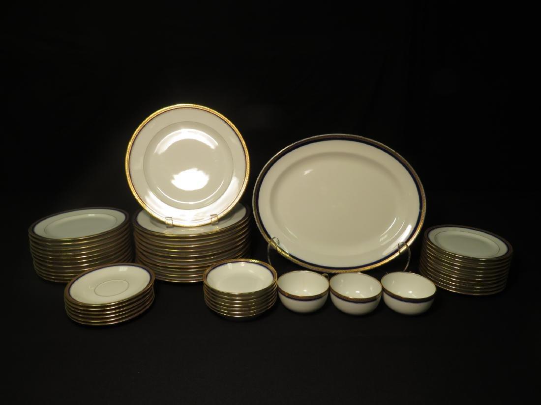 VIGNAUD LIMOGES COBALT BLUE & GOLD DINNERWARE 47P