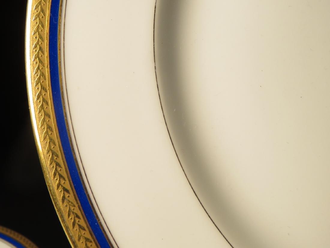 VIGNAUD LIMOGES COBALT BLUE & GOLD DINNERWARE 47P - 2