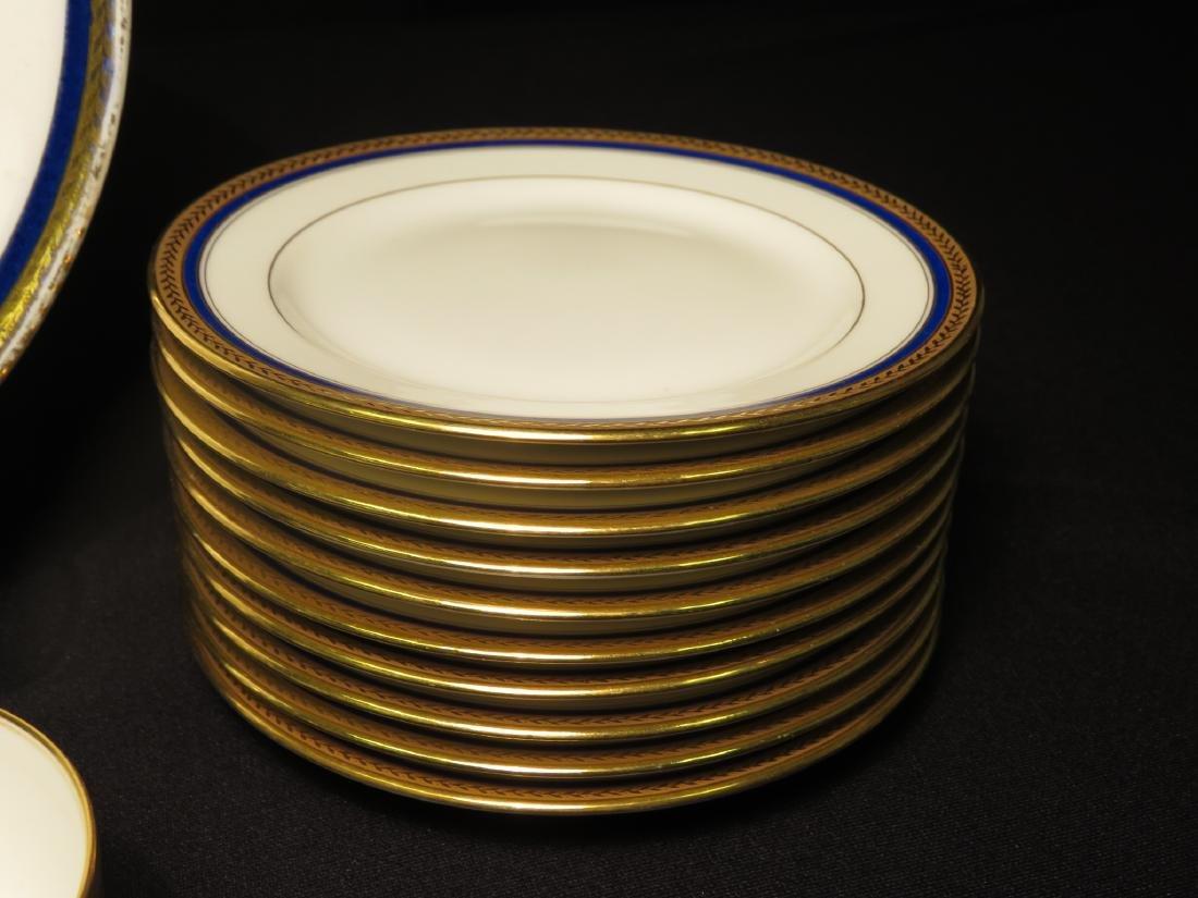 VIGNAUD LIMOGES COBALT BLUE & GOLD DINNERWARE 47P - 3