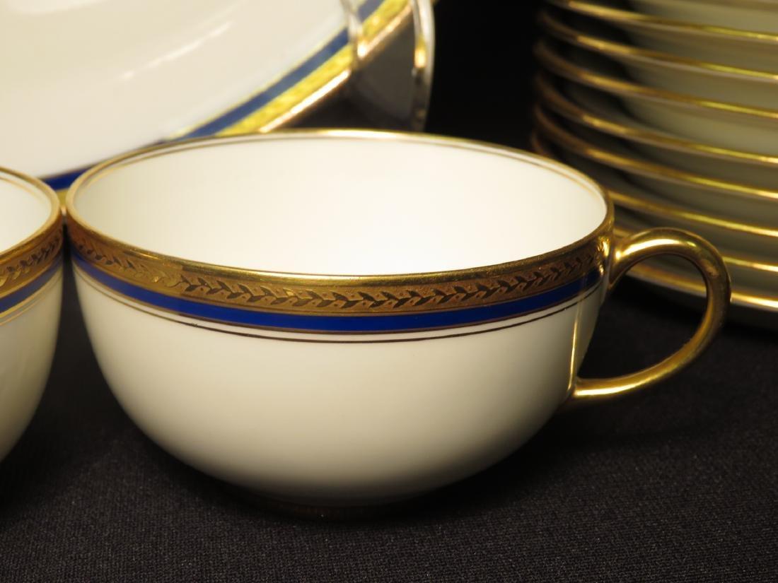 VIGNAUD LIMOGES COBALT BLUE & GOLD DINNERWARE 47P - 5