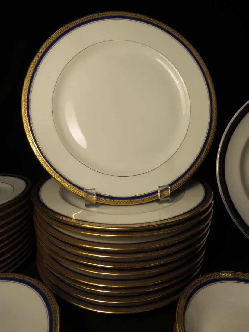 VIGNAUD LIMOGES COBALT BLUE & GOLD DINNERWARE 47P - 6