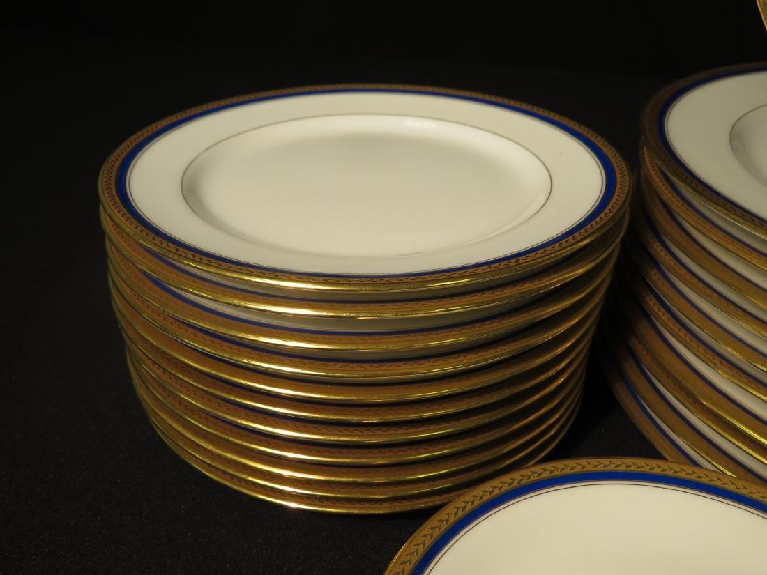 VIGNAUD LIMOGES COBALT BLUE & GOLD DINNERWARE 47P - 7