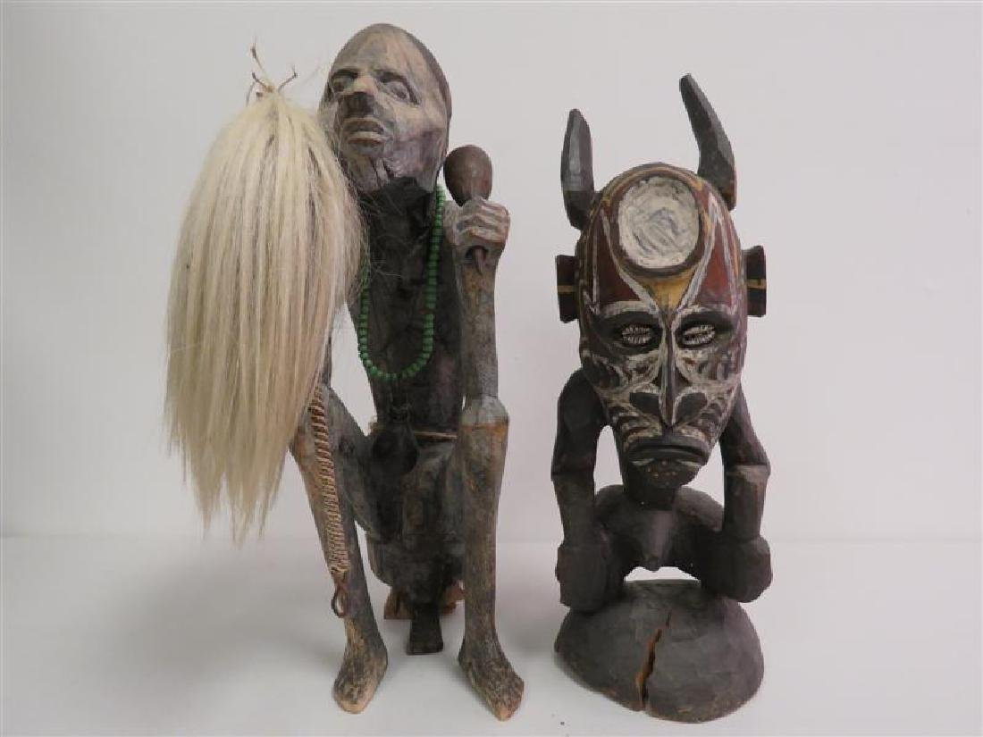 TWO AFRICAN TRIBAL ETHNIC WOODEN SCULPTURES