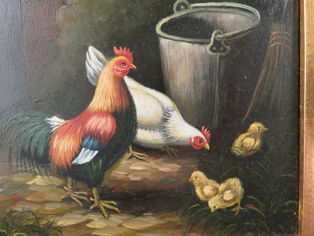 SMALL PAINTING OF CHICKENS AND CHICKS - 2