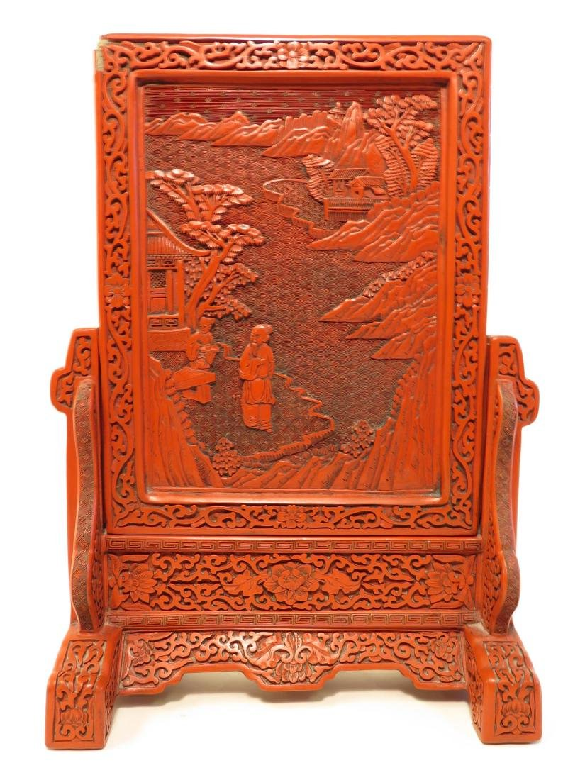 CHINESE QING CINNABAR & FAMILLE VERTE TABLE SCREEN - 6
