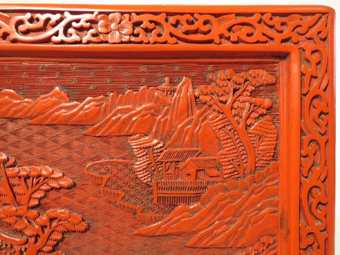 CHINESE QING CINNABAR & FAMILLE VERTE TABLE SCREEN - 7