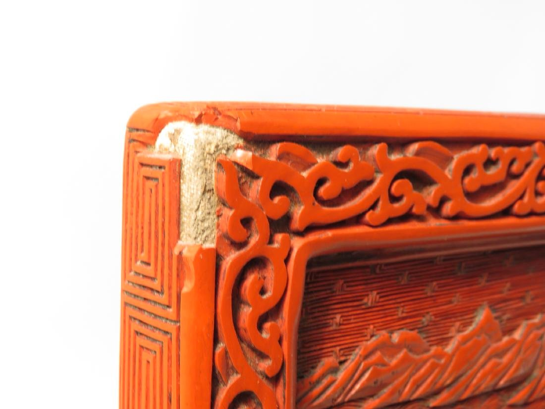 CHINESE QING CINNABAR & FAMILLE VERTE TABLE SCREEN - 9