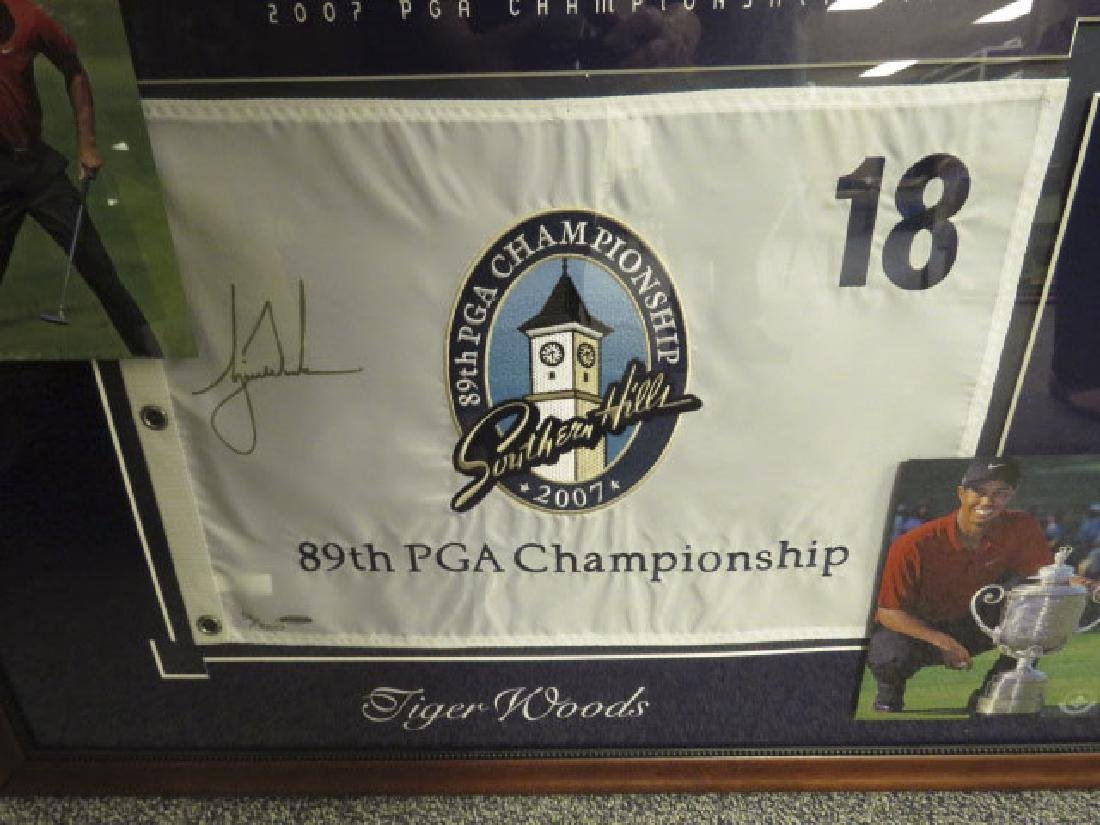 SIGNED TIGER WOODS PIN FLAG - PGA 2007
