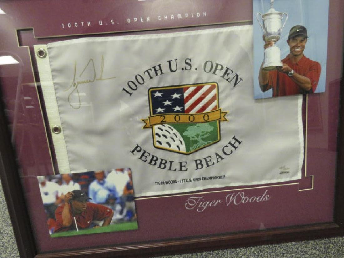SIGNED TIGER WOODS PIN FLAG - 100TH US OPEN