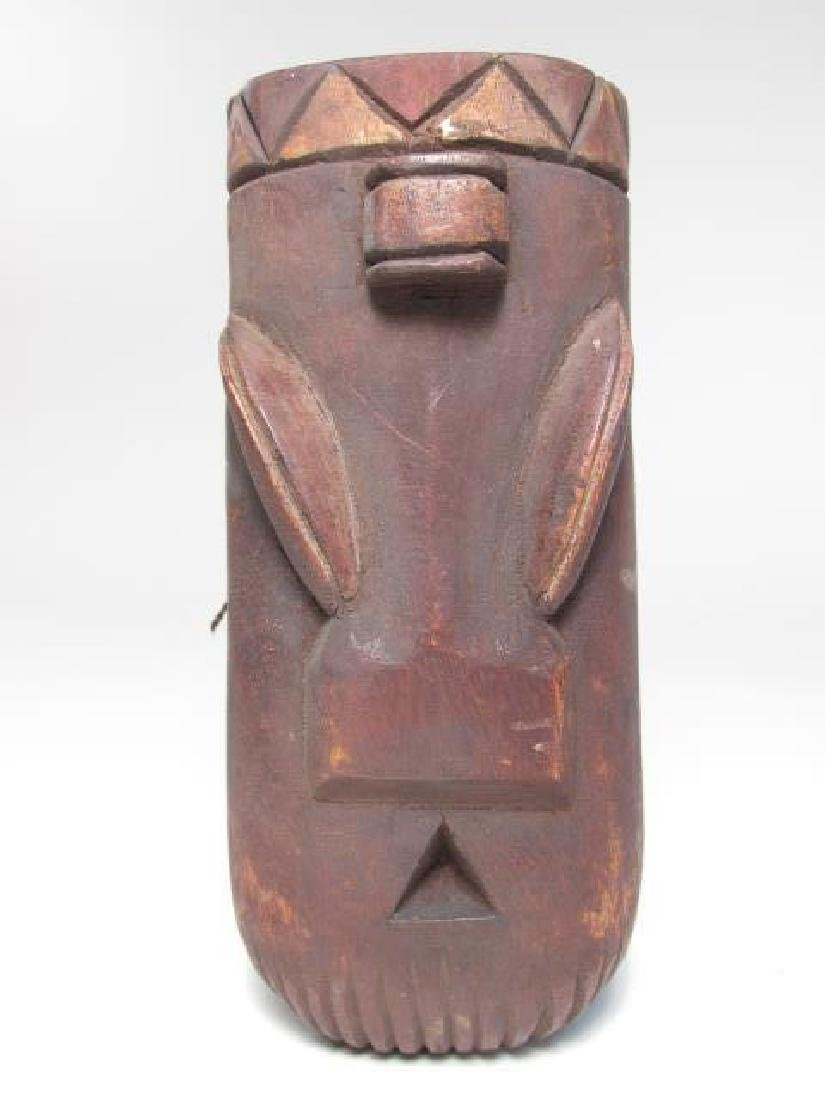 FIVE TRIBAL STYLE CARVED WOOD MASKS - 2