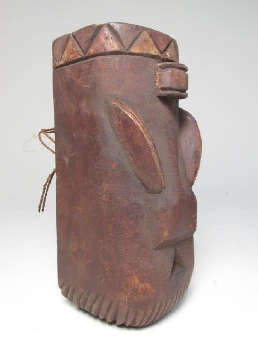 FIVE TRIBAL STYLE CARVED WOOD MASKS - 3