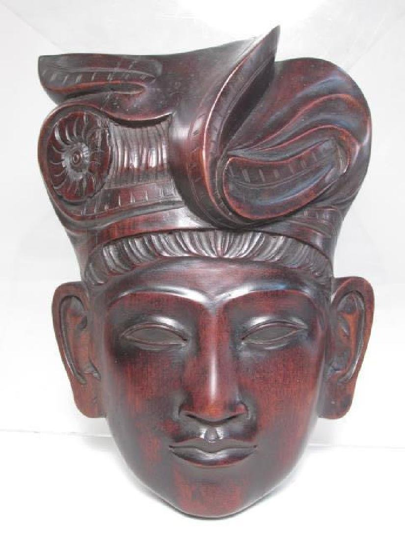 FIVE TRIBAL STYLE CARVED WOOD MASKS - 5