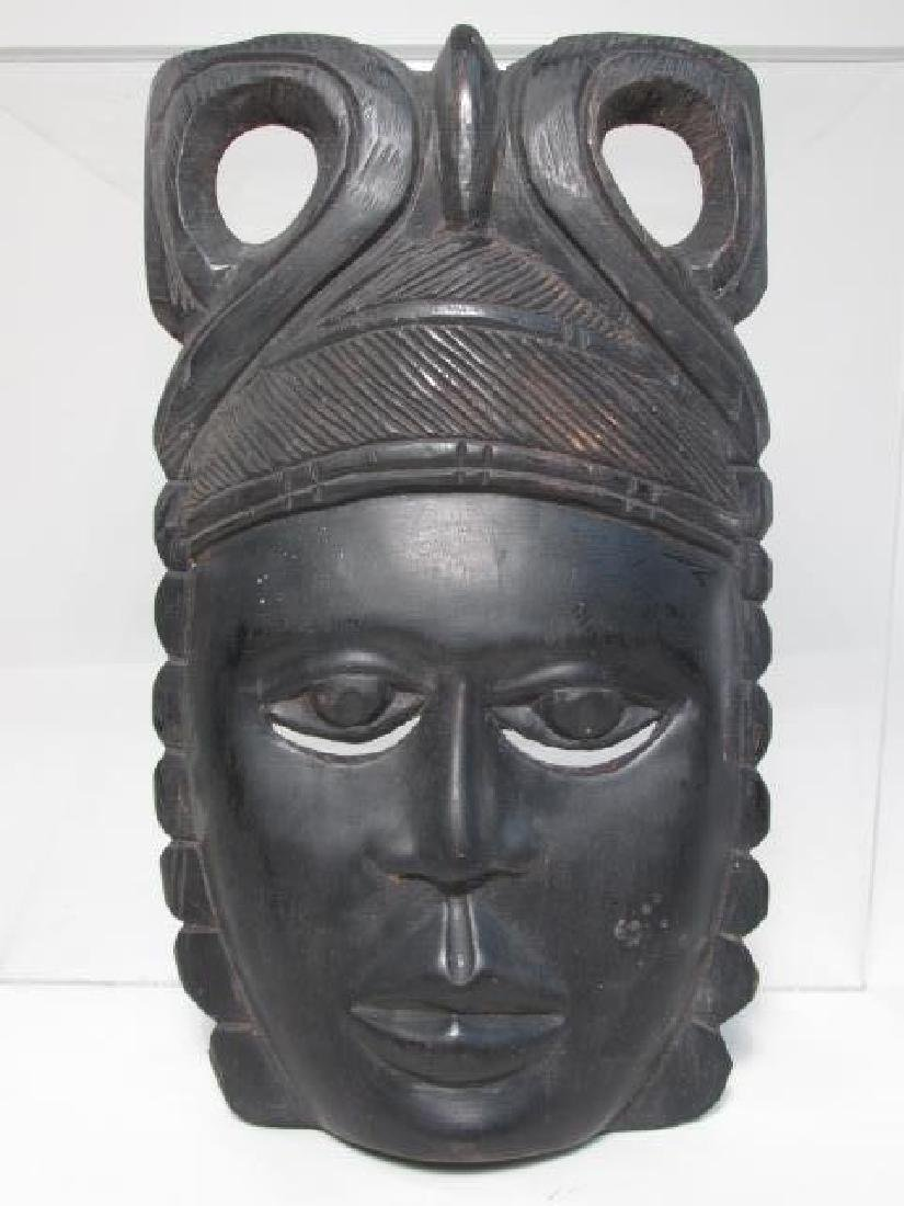 FIVE TRIBAL STYLE CARVED WOOD MASKS - 7
