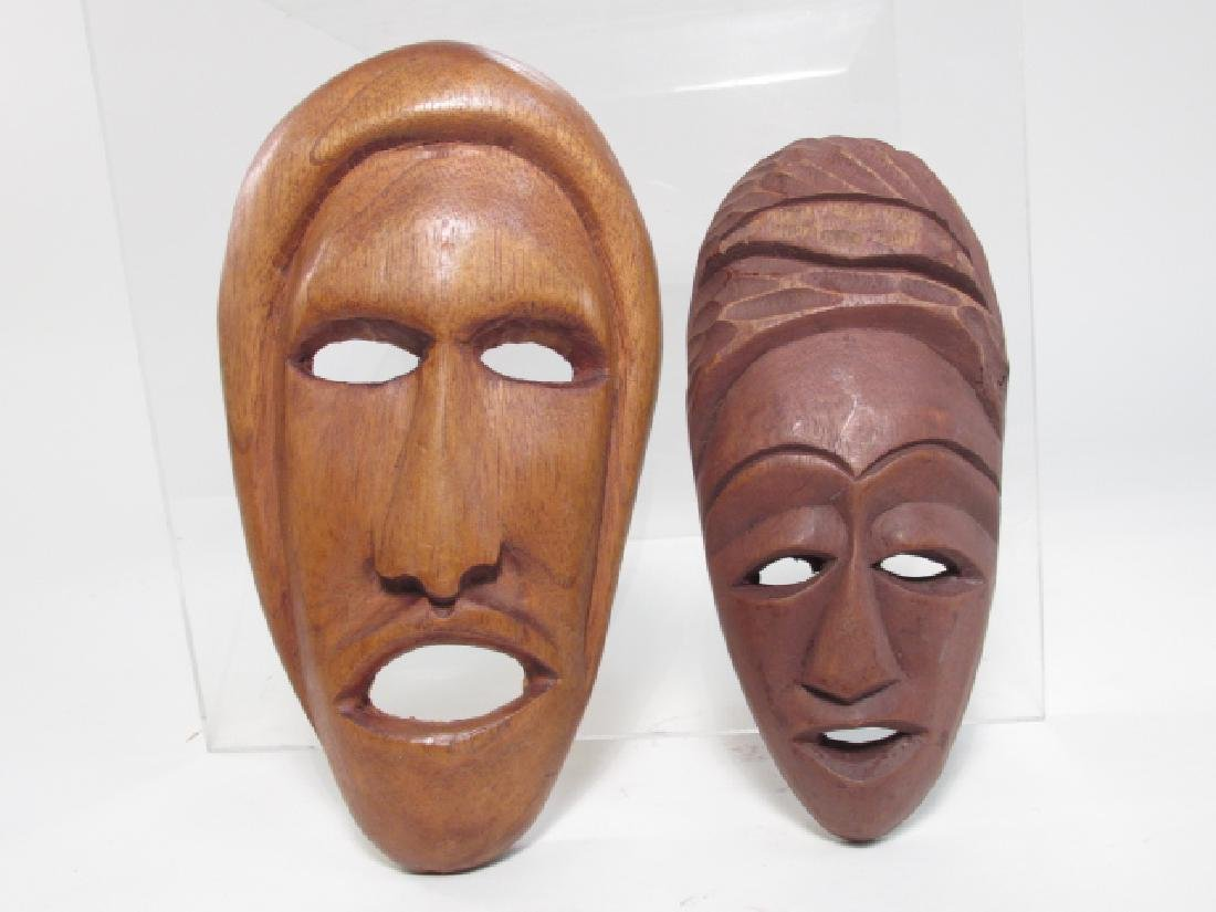 FIVE TRIBAL STYLE CARVED WOOD MASKS - 9