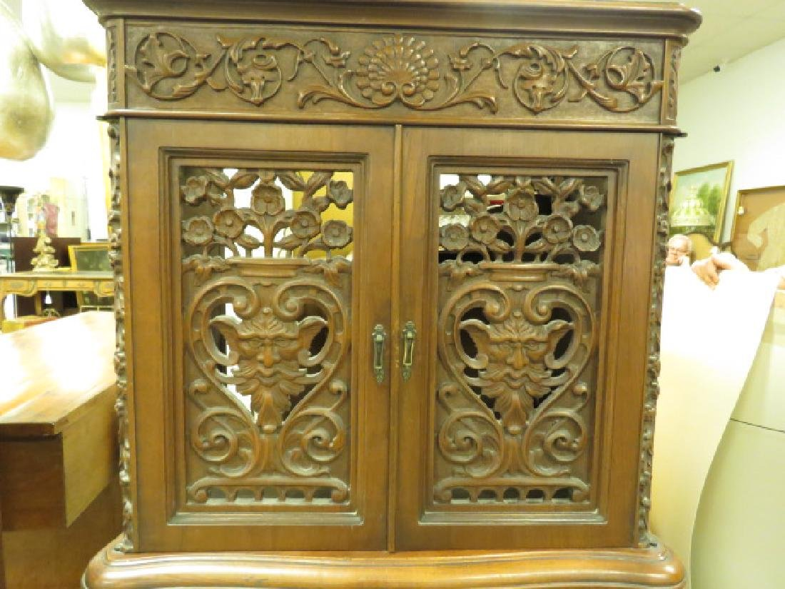LATE 19TH/ EARLY 20TH C CARVED WALNUT CABINET - 7