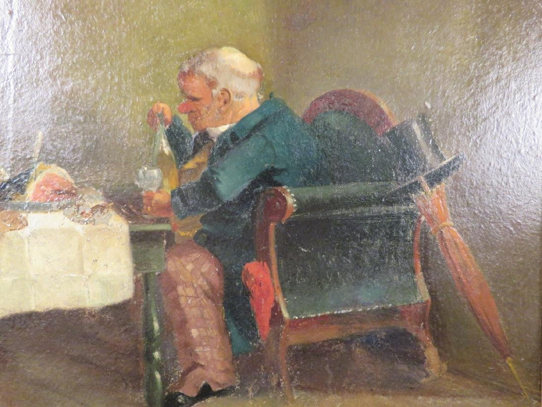 OIL ON PANEL PAINTING OF A GENTLEMAN DINING