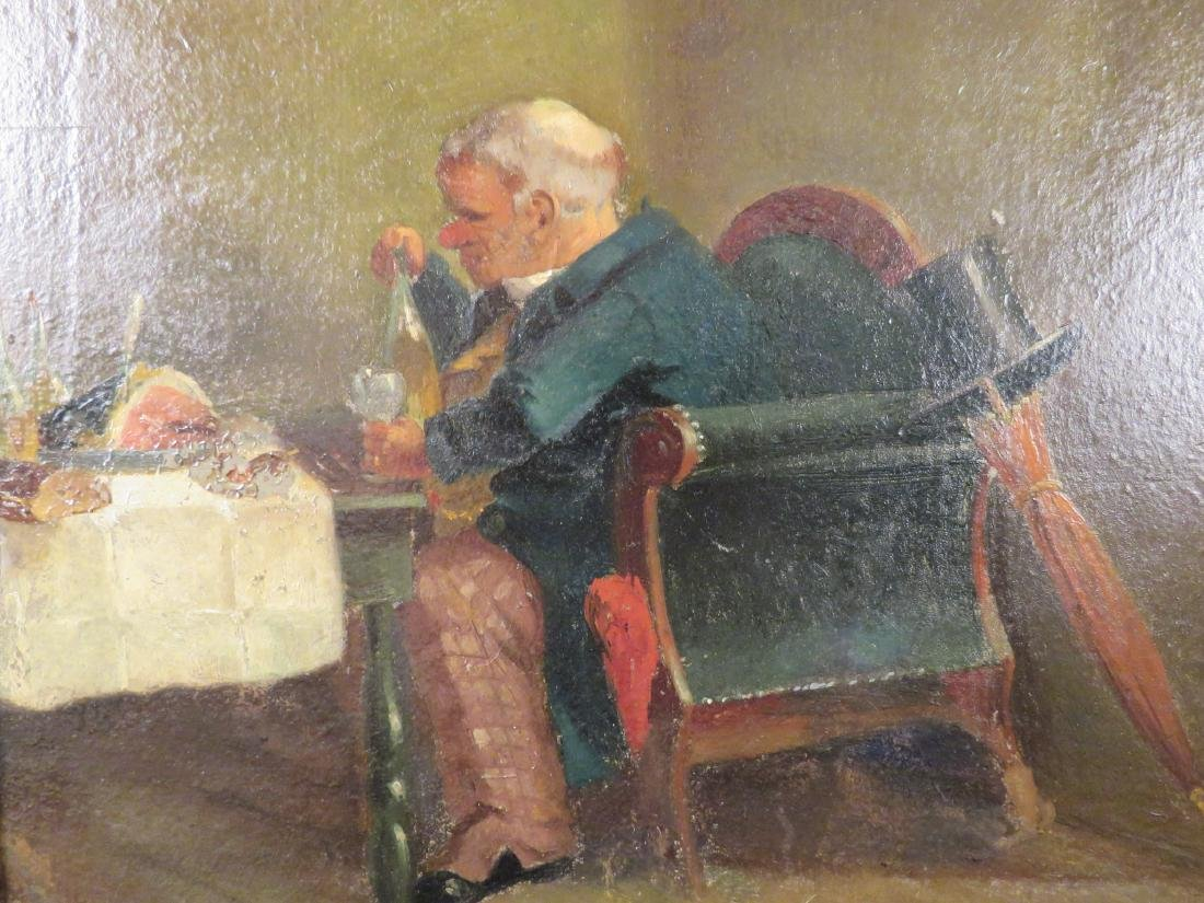 OIL ON PANEL PAINTING OF A GENTLEMAN DINING - 2