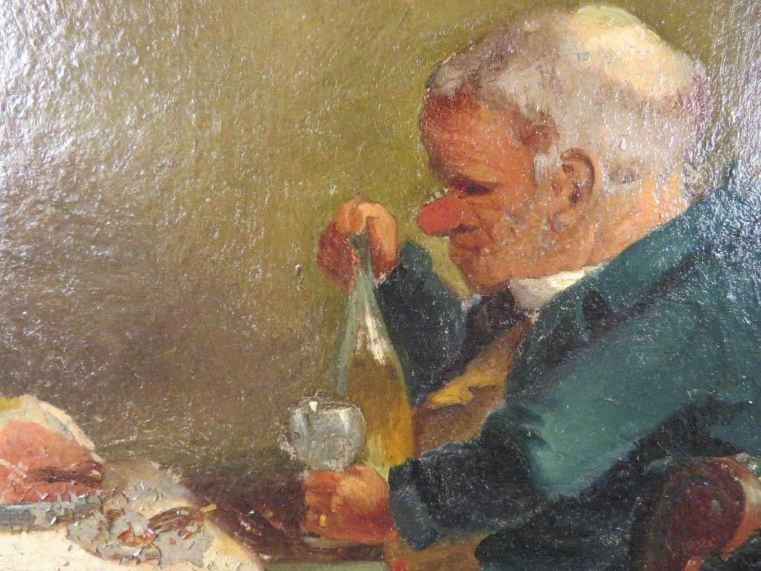 OIL ON PANEL PAINTING OF A GENTLEMAN DINING - 3