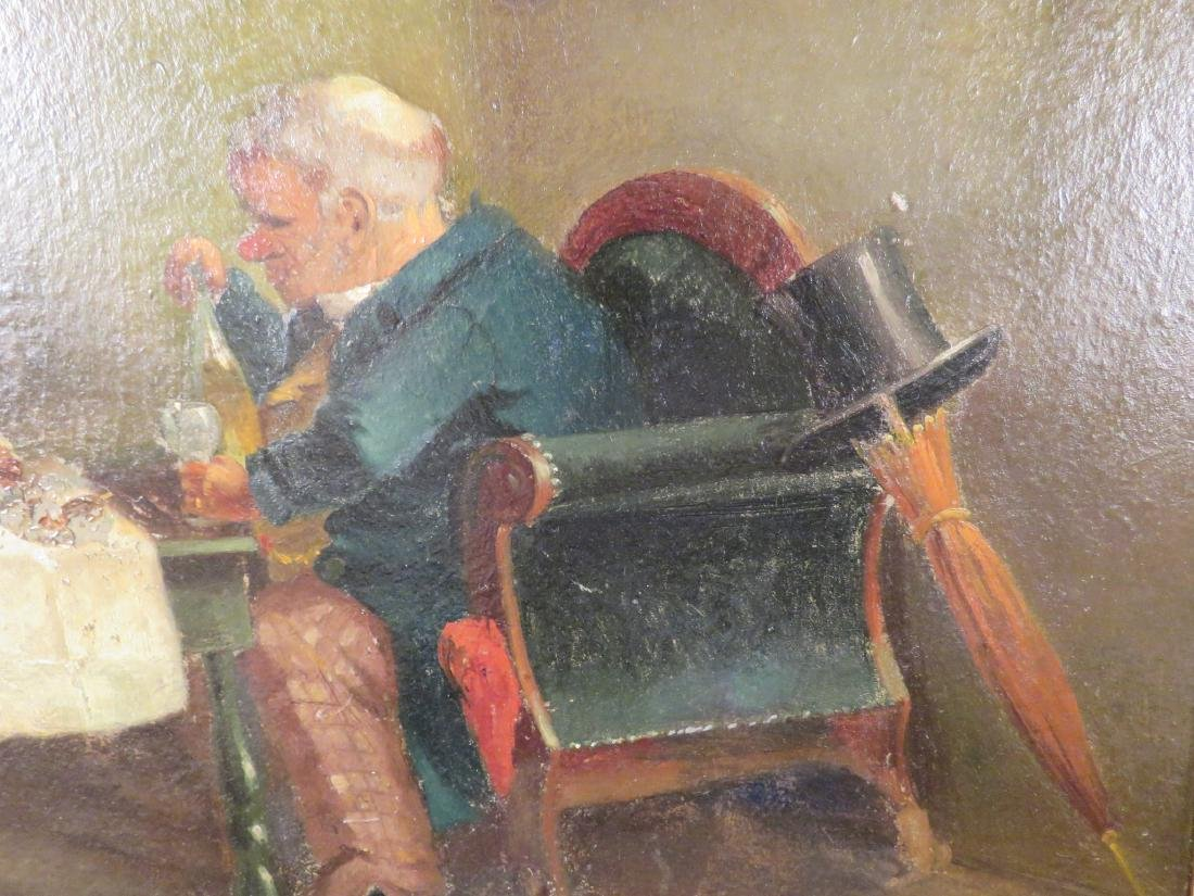 OIL ON PANEL PAINTING OF A GENTLEMAN DINING - 4