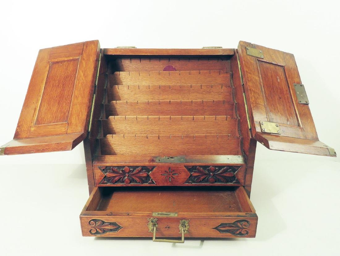 ANTIQUE ENGLISH OAK STATIONARY CABINET BOX - 3
