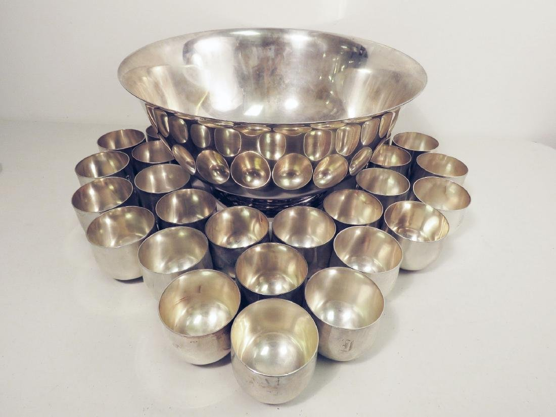 J.E. CALDWELL STERLING SILVER PUNCH BOWL W 24 CUPS