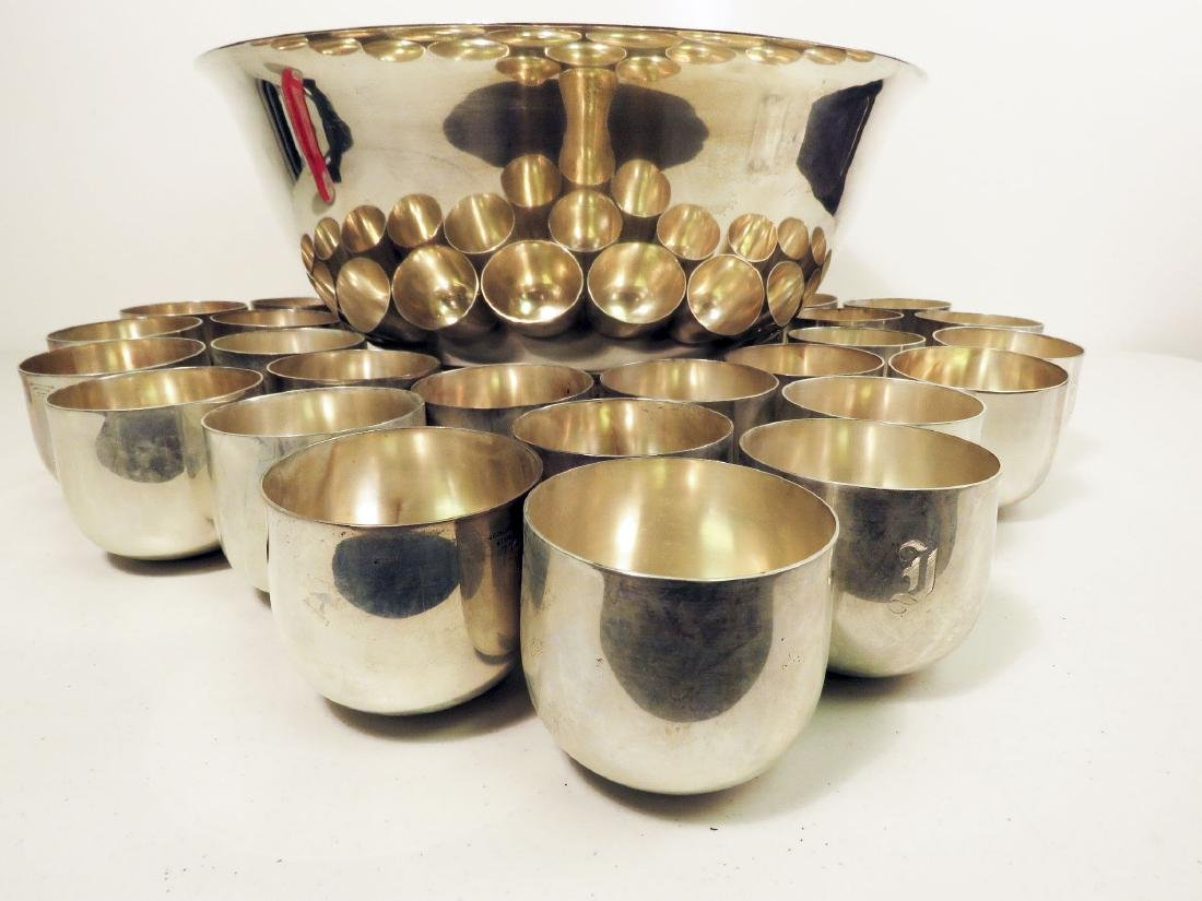 J.E. CALDWELL STERLING SILVER PUNCH BOWL W 24 CUPS - 2