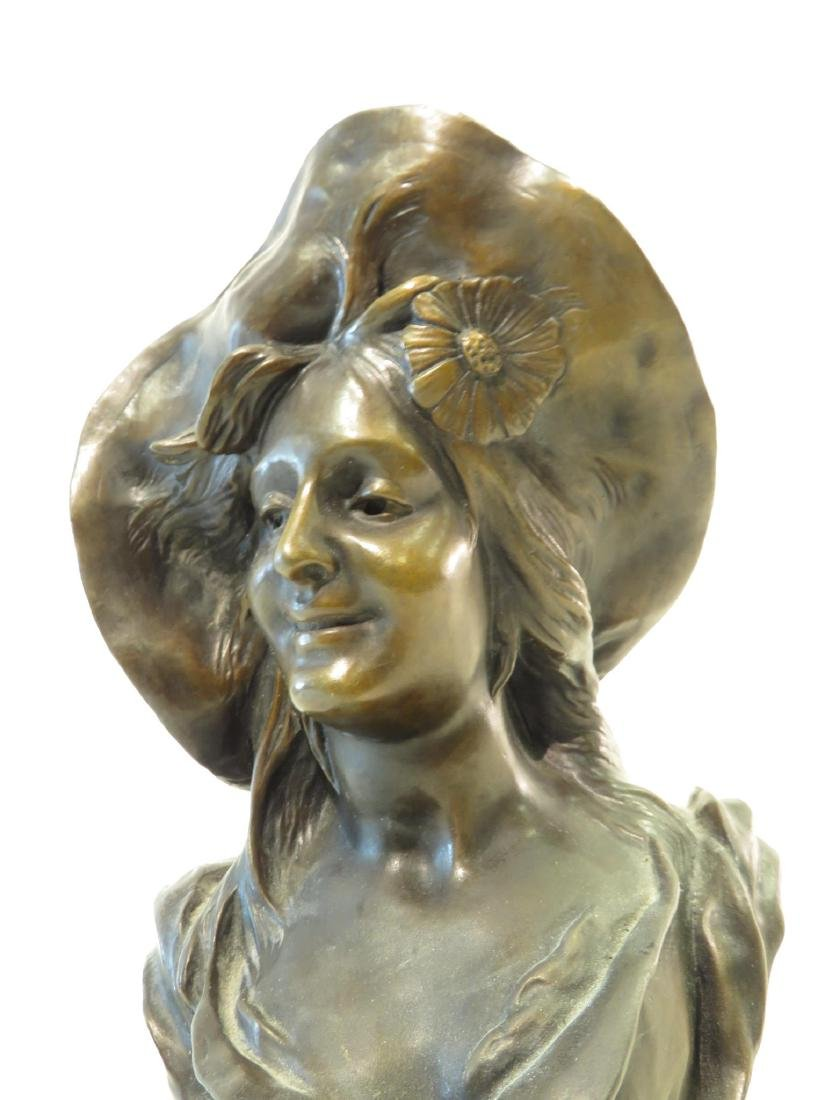 "ANTIQUE BRONZE BUST ""GIRL WITH FLOPPY HAT"" BRUNECE - 2"