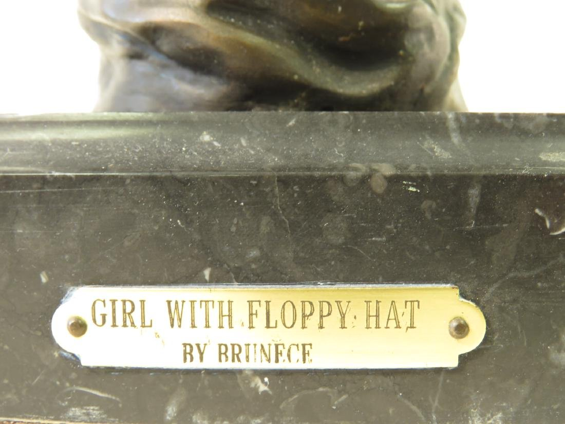 "ANTIQUE BRONZE BUST ""GIRL WITH FLOPPY HAT"" BRUNECE - 4"