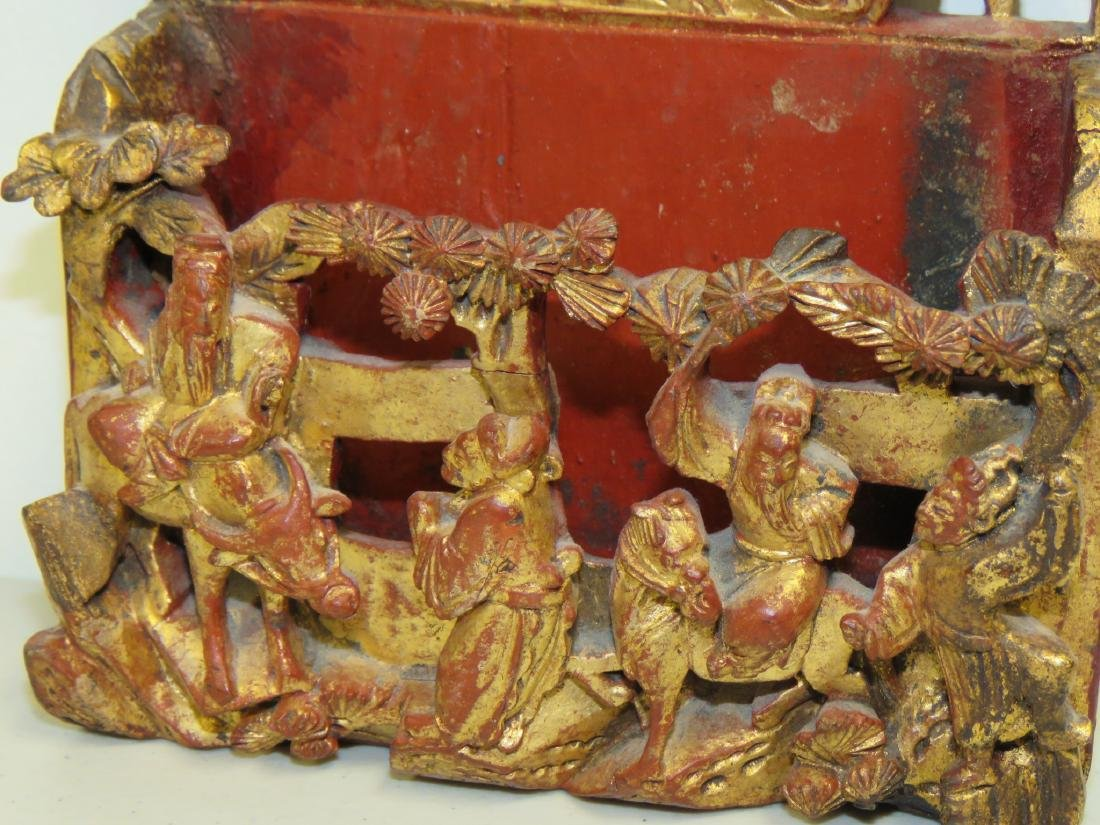 ASSORTED CHINESE CARVED & LACQUERED WOOD ITEMS - 10