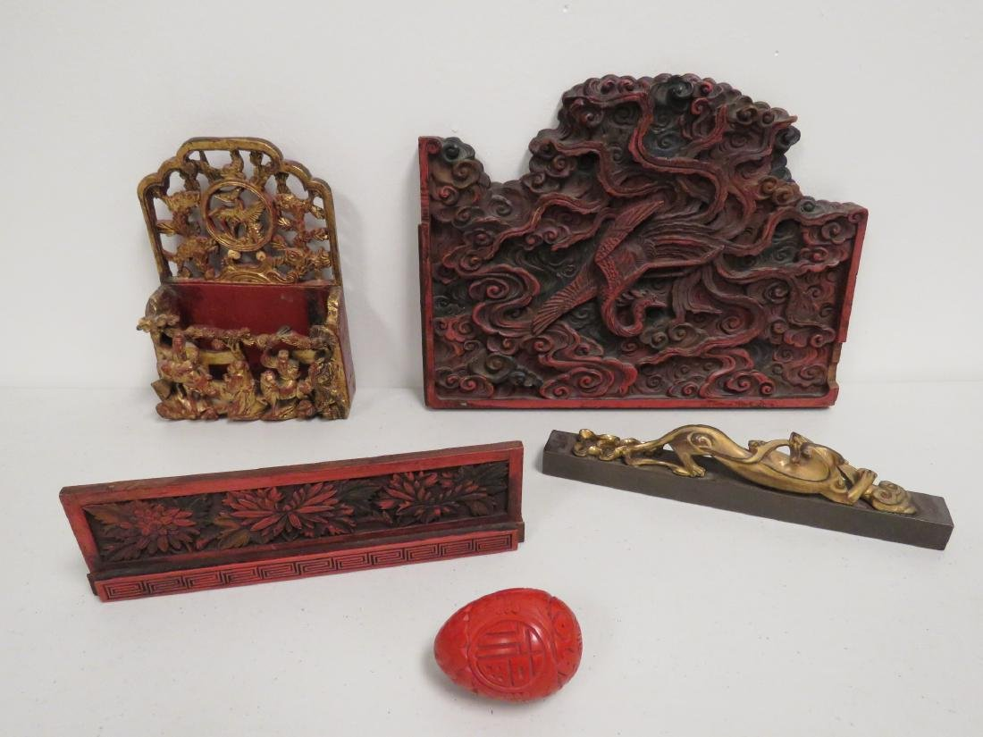 ASSORTED CHINESE CARVED & LACQUERED WOOD ITEMS