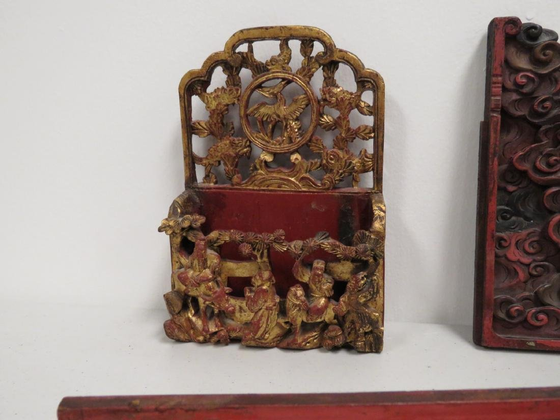 ASSORTED CHINESE CARVED & LACQUERED WOOD ITEMS - 3