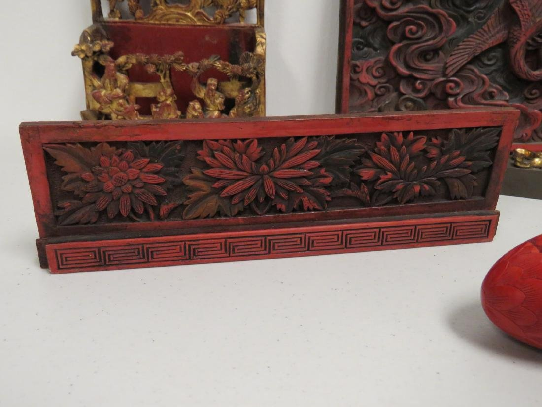 ASSORTED CHINESE CARVED & LACQUERED WOOD ITEMS - 4
