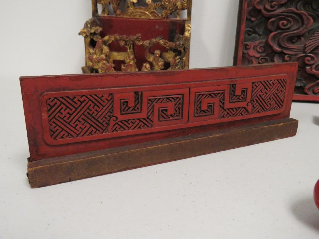 ASSORTED CHINESE CARVED & LACQUERED WOOD ITEMS - 5