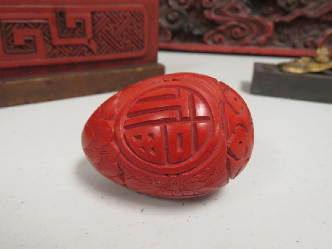 ASSORTED CHINESE CARVED & LACQUERED WOOD ITEMS - 7