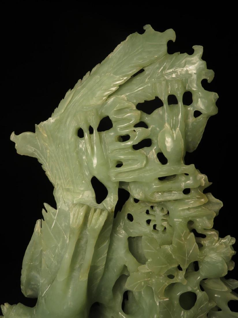 CHINESE CARVED JADE BIRD GROUP SCULPTURE - 10